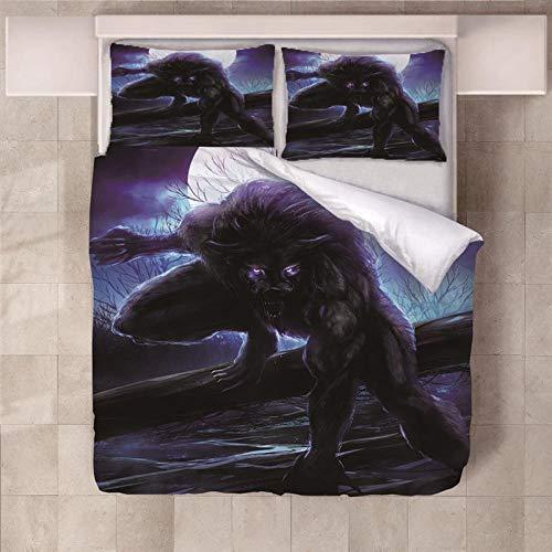 RYQRP Double Duvet Covers Set Werewolf Bedding Set with Zipper Closure Microfiber Bedding Quilt Cover for Kids Teens Adults 200x200cm