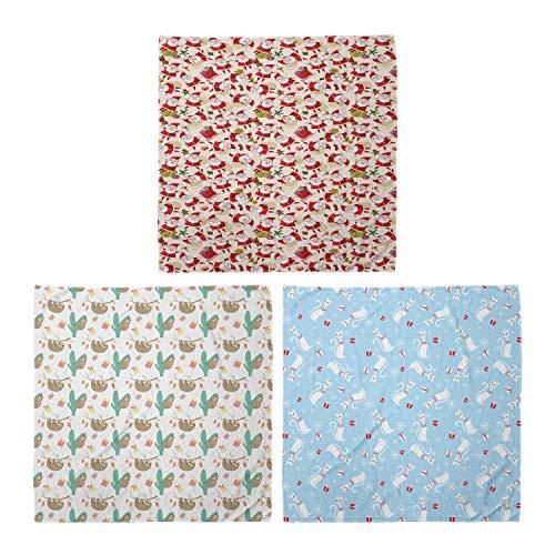 ABAKUHAUS Pack de 3 Bandanas Unisex, Santa Claus perezosos Calcetines de vacaciones de dibujos animados Los gatos con collares, Multicolor