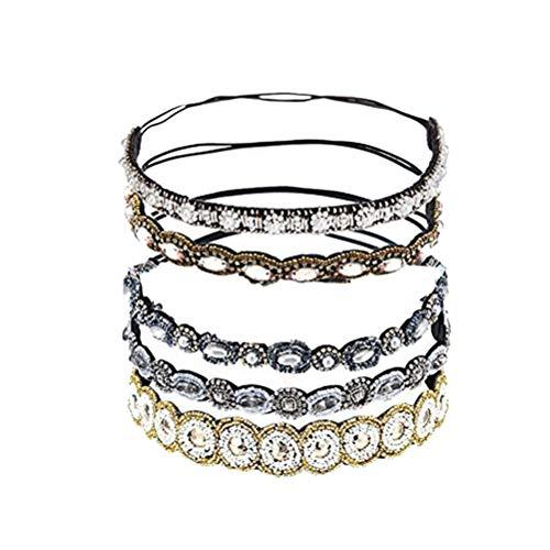 Minkissy 5pcs accessoires de cheveux perlés à la main percer bandeau cheveux cerceau pour femme fille dame décoration (style mixte un style pour chacun)