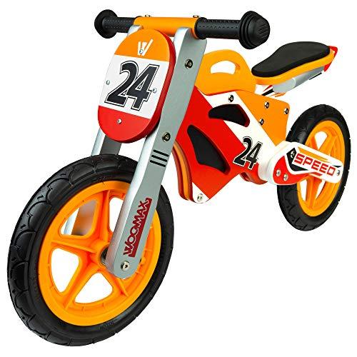 WOOMAX - Bici sin pedales madera, puños de goma, bicicleta iniciación niños, bici sin pedales niño 2 años, asiento acolchado, máx 25 Kg, de 24 meses a 5 años (85371)