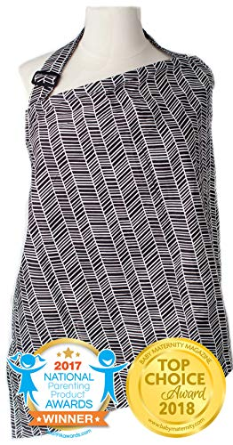 Nursing Cover with Sewn in Burp Cloth for Breastfeeding Infants   Free Matching Pouch   Best Apron Cover up for Breast Feeding Babies   Covers up Newborns in Public   2017 Nappa Winner   Herringbone