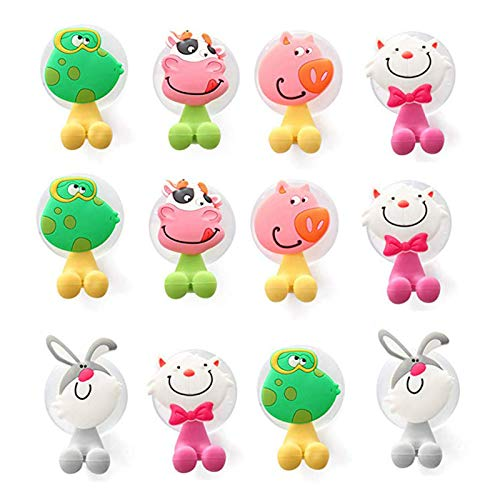 STUDYY Kids Toothbrush Holder, Cute Cartoon Animal Toothbrush Holder with Suction Cup, 12 Pack