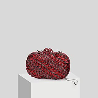 Fashion Ms. Big Red Hibiscus Wedding Bag Atmospheric Rhinestone Banquet Chain Bag Clutch Bag (Color : Multi-Colored)