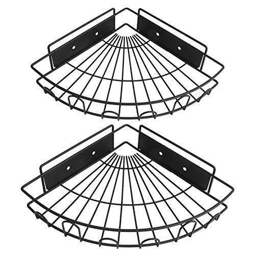 YAYT 2 Piezas De Estante De Esquina, Estante De Baño para Colgar En La Pared Baño Cesto De Almacenamiento Negro Cesto Triangular Perforado Sin Baño (1 Grande Y 1 Pequeño)
