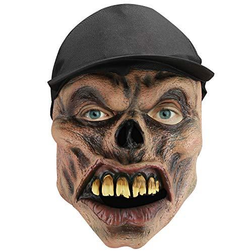 Hautton Máscara de Halloween para Adulto, Máscara Espeluznante Látex, Mascarilla Cubrecabezas con Rostro y Gorro, Villano en Gorro Negro para Fiesta de Disfraces