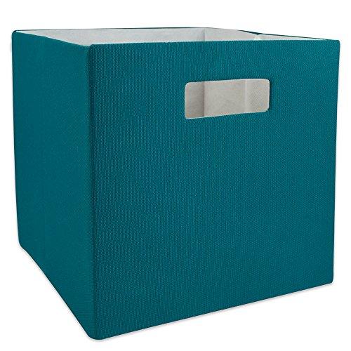 DII Cajón de Almacenamiento de Tela Plegable con Lados Duros para organización del hogar y la Oficina, Sólido, Verde Azulado, Pequeño, 1