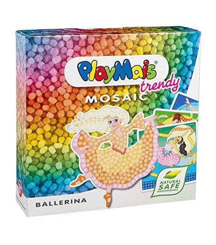 PlayMais TRENDY MOSAIC Ballerina Kreativ-Set zum Basteln für Mädchen ab 6 Jahren   Über 3.000 Stück & 6 Mosaik Klebebilder mit Ballerinen   Fördert Kreativität & Feinmotorik   Natürliches Spielzeug
