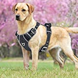 Idepet No-Pull Dog Harness with Handle Adjustable Reflective Pet Harness Vest Easy Control for Small Medium Large Dogs Training Walking Hiking Black Pin Buckle Design
