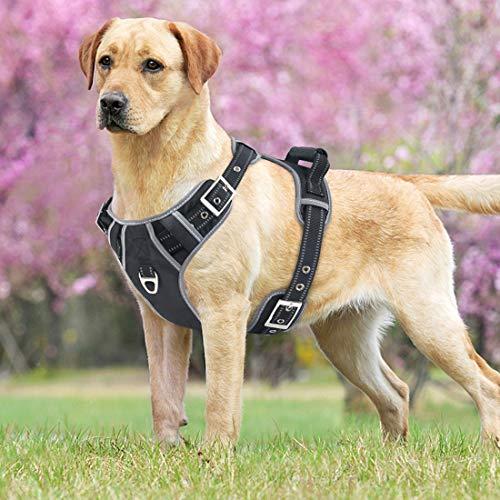 Idepet Arnés para Perros sin tirón con manija Chaleco para arnés Reflectante Ajustable para Mascotas Control fácil para Perros pequeños medianos Grandes Entrenamiento Caminata
