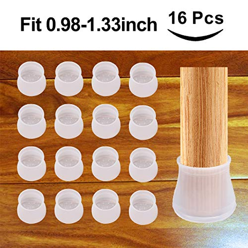 16Pcs Furniture Silicon Protection Cover, Fit 1 to 1-2/5 Inch Silicone Chair Leg Floor Protectors, Round Furniture Table Feet Caps, Anti-Slip Bottom Chair Pads (Fit 25mm-34mm)