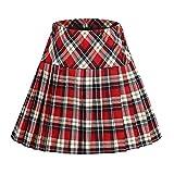 Women's Elastic Waist Plaid Pleated Skirt Tartan Skater School Uniform Mini Skirts (Series 16, 2XL)