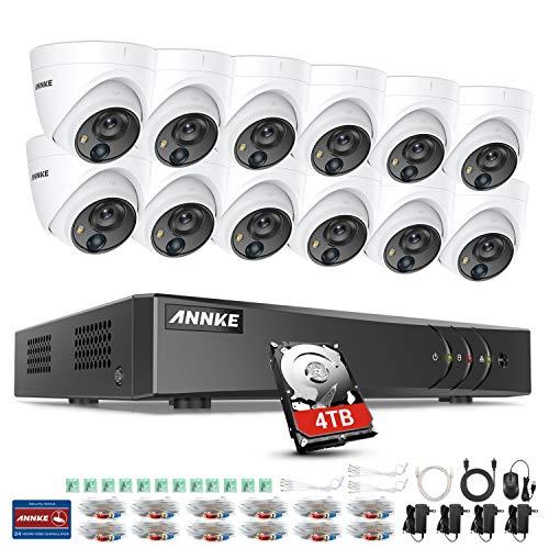 ANNKE 16CH Überwachungskamera Set System CCTV Videoüberwachung 16-Kanal 5MP Lite H.265+ DVR Rekorder mit 12 x 1080P PIR IP 67 Dome Überwachungskamera,30m IR Nachtsicht,APP Alarm(4TB HDD)