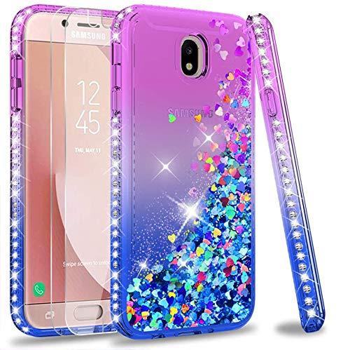 LeYi per Cover Samsung Galaxy J7 2017 Glitter Cover con Vetro Temperato [2 Pack],Brillantini Diamond Silicone Sabbie Mobili Bumper per Custodie Samsung J7 2017 PRO J730 Violet Blu Gradient