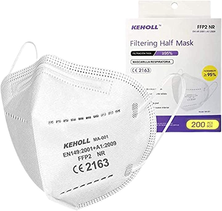 keholl mascherine ffp2 nr 5 strati certificate ce confezionate singolarmente 95% filtraggio- 200 pezzi pacco famiglia b08whgv151
