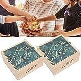 Caja de madera, juego de 2 cajas de regalo de madera para bodas PVC exquisito joyero bolsa de embalaje de dulces accesorio para fiesta de cumpleaños cofre del tesoro de madera caja de regalo (2)