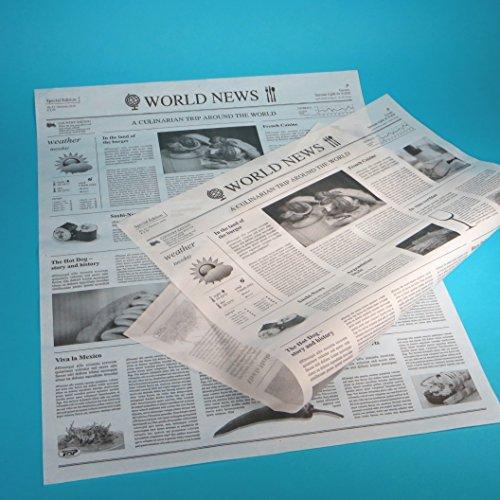 1000 Blatt Bio Einschlagpapier Hamburgerpapier Sandwichpapier Frischhaltepapier Pergamentersatz fettdicht Zeitung/mit Zeitungsdruck 38,5x50cm XL