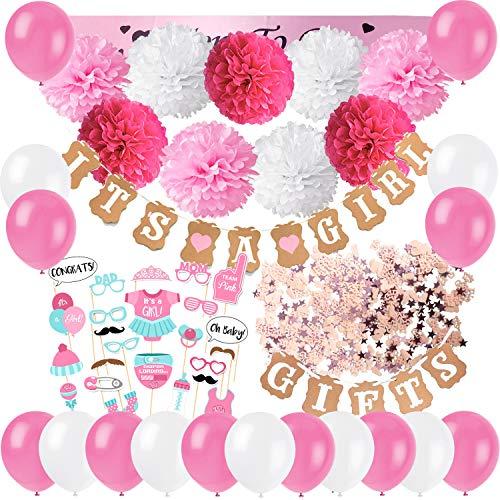 Zerodeco Baby Dusche Dekoration, It's A Girl und Gifts Girlande Banner mit Seidenpapier Pom Poms, Neugeborene Fotorequisiten Masken, Mum to Be Schärpe, Konfetti und Luftballons