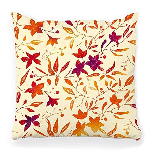 LXJ-CQ Funda de almohada de tiro 18x18 Otoño Flor Roja Rama Hoja Hiedra Composición de Arte Elegante Marco Floral Suave Regalo Funda de almohada gráfica