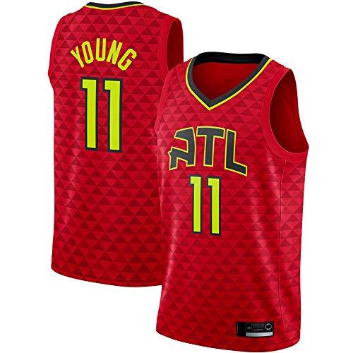 Bordado por Hombres Atlanta Hawks # 11 Trae Young - Camiseta De Entrenamiento Deportivo De Baloncesto De La NBA, Camiseta con Cuello En V Transpirable Sin Mangas,Rojo,XL(180~185cm)