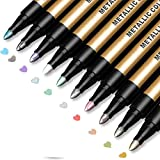 Metallic Marker Pens, Paint Pens for Rock Painting, Black Paper, Scrapbooking Kit, Scrapbook Photo Album, Card Making, DIY Arts Crafts, Glass, Wood, Set of 10 Metallic Colors - Medium Tip Paint Markers