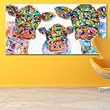 CNHNWJ Bunte Aquarell Leinwandbild Kuh Familie wandbilder