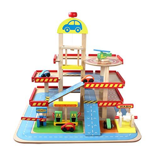 GFDFD Estacionamiento de Madera Juguetes Juego de vías de Tren de ferrocarril Simulación de Tres Pisos Parque de Coches Casa de Juegos para niños Juguete Educativo para niños