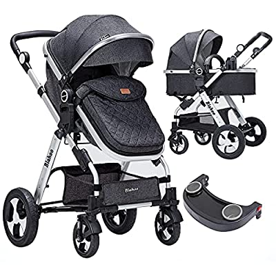 Blahoo Baby Stroller for Newborn, 2 in1 High Landscape Stroller, Foldable Aluminum Alloy Pushchair with Adjustable Backrest.Adjustable Awning, Variable Seat and Recliner(Black) by Blahoo