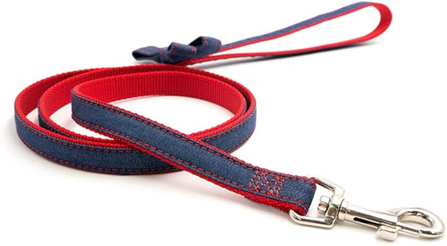Dog Leash, Denim Fabric Pet Telescopic Traction Rope Dog Chain Training Lead Dog Leash(XS S) (color   RED, Size   S)