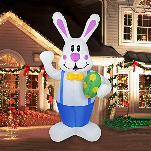 æ— Oster-Aufblasbare Hase, stehender aufblasbarer Hase mit LED-Lichtern, Oster-Urlaubsdekorationen für Hof, Garten, Outdoor-Ornamente