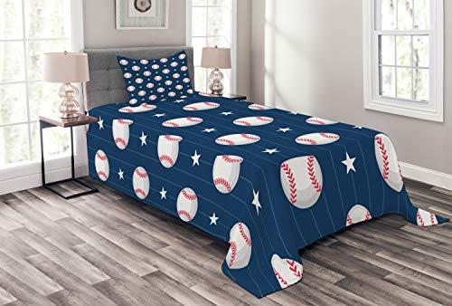 ABAKUHAUS Sport Tagesdecke Set, Baseball Artsy Stripes, Set mit Kissenbezug Weicher Stoff, für Einzelbetten 170 x 220 cm, Nachtblau Weiß Rot