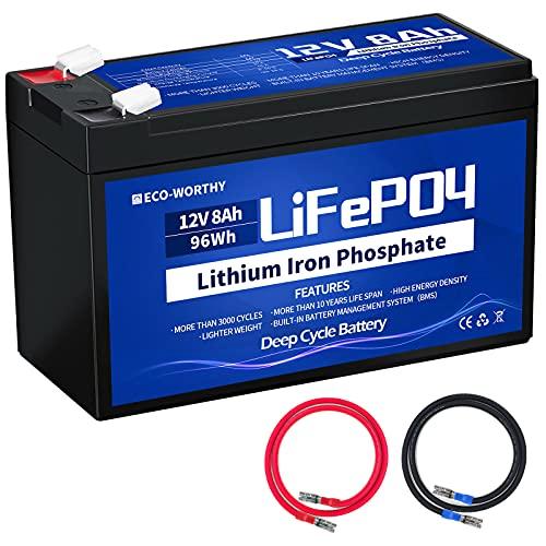 ECO-WORTHY Batería de Litio 8Ah 12V, Recargable con energía Solar, Descarga Profunda más de 3000 Veces, Red eléctrica/Marina/Sistema Solar