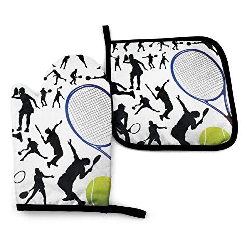 Juego de guantes y porta ollas resistentes al calor para jugadores de tenis y tenis para cocina, forro de algodón suave con superficie antideslizante para una barbacoa segura, hornear, asar a la parri