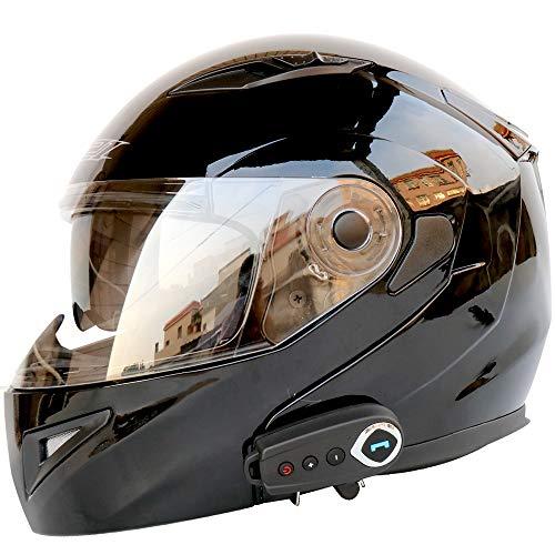SSCJ Motorradhelme Bluetooth-Lautsprecher, integrierter modularer Flip-up-Doppelvisier-Integralhelm Integriertes Bluetooth 5.0-Headset für MP3-Intercom-Kommunikation,Schwarz,XL