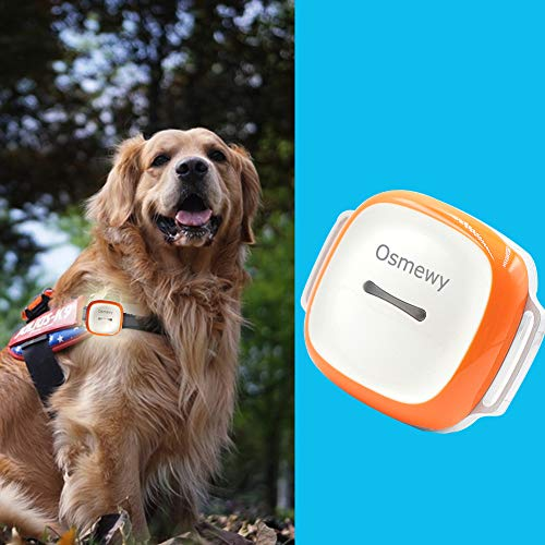 Osmewy Pet GPS Tracker for Dogs Bigger Cats Hounds Tracking Device with Collar Light Search Geo Fence Anti-Lost Waterproof GPS Locator Real Time Alarm Remote Control Free APP 1450mAh GT011 Orange