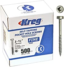 Kreg SPS-F150-500 1-1/2-Inch #6 Fine Pan-Head Pocket Hole Screws, 500-Pack