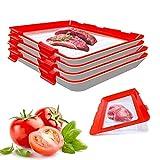 Bandeja para contenedores de alimentos frescos, contenedor de almacenamiento de alimentos reutilizable, bandeja creativa apilable para conservación de alimentos para verduras, frutas, carne, cocina(4)
