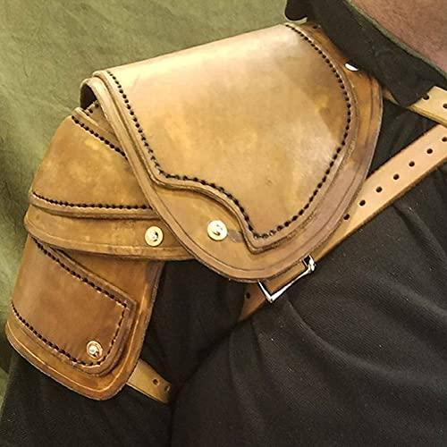 ZJJ Armadura De Hombro Medieval Ajustable Faux Leather Guardia De Hombro Izquierdo Y Derecho Arns De Pecho De Cuerpo De Caballero Espaldares Retro para Accesorio De Disfraz De Cosplay,Amarillo