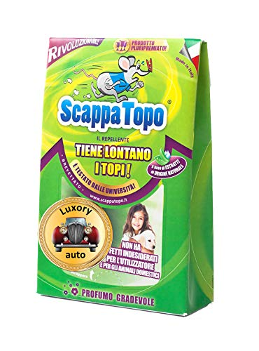 ScappaTopo Luxory Auto Repellente Naturale - Protegge la Tua Auto dai Topi Senza veleni – Unico! 4 Pezzi.Registrato aTransparency di Amazon, Che ne certifica l autenticità per Proteggere i Clienti.