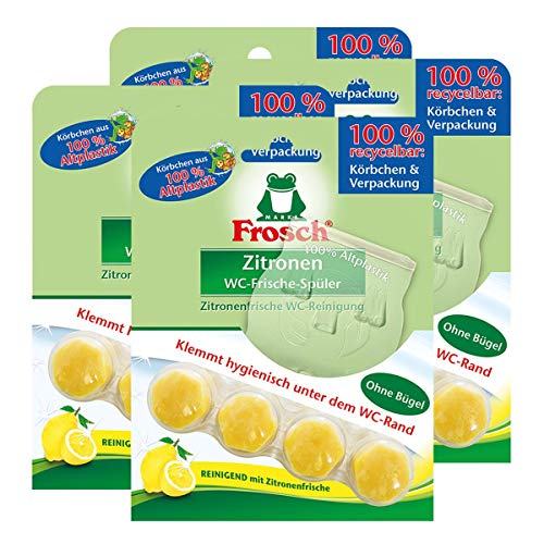 Frosch Zitronen WC-Frische-Spüler 42g - Reinigend mit Zitronenfrische (4er Pack)