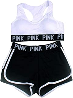 XFKLJ Sports Bra Yoga Pants Seamless Yoga Set Women Sport Suit Letter Sportswear for Women Fitness Push Up Bra+Gym Short F...
