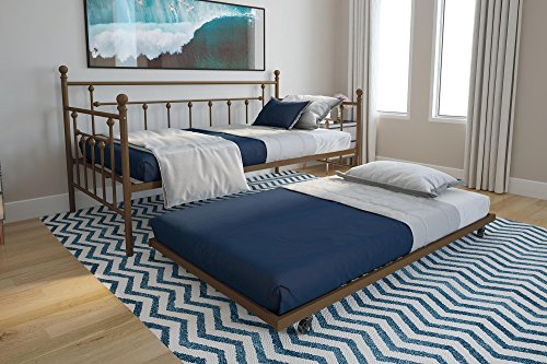 DHP Manila Metal Twin Size Daybed and Twin Size Trundle (Gold)