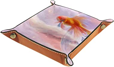 Goldfish in Sky Leather Tray Dice Box Bedside Tray Key Watches and Candy Holder Sundries Entryway Tray,20.5x20.5cm