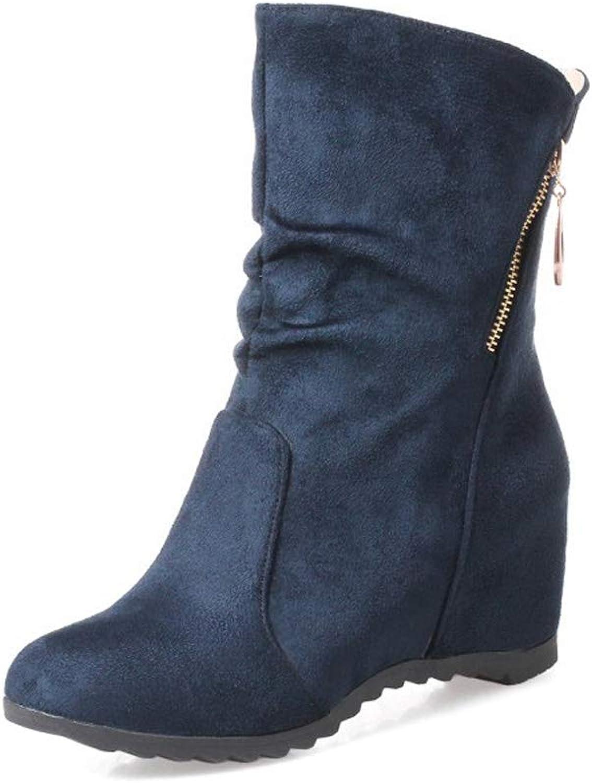 QQNVXUE Herbst und Winter Weibliche Stiefel Erhöht in weiblichen kurzen Stiefeln Angenehm warm (Farbe   Blau, größe   40)  | Nutzen Sie Materialien voll aus  | Um Sowohl Die Qualität Der Zähigkeit Und Härte