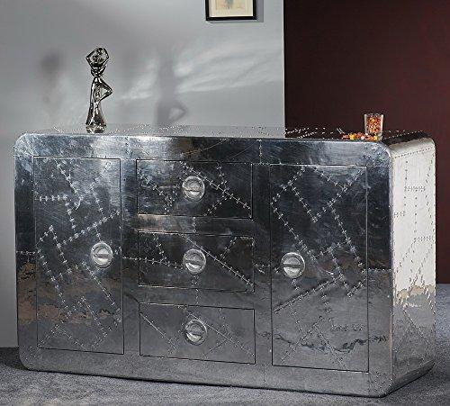 lifestyle4living Sideboard Aluminium beschlagen, Rahmen/Schubladens. massiv, Füllungen/Schubladenfr. furniert, 2 Türen, 3 Schubladen, B/H/T ca. 150/90/45 cm