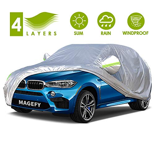 MAGEFY 4 Layers Outdoor SUV Car Cover Universal Full Car Covers for Automobiles All Weather...