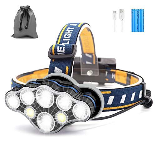 Linterna Frontal, 8 LED 18000 Lúmenes USB Recargable Linterna Cabeza, Ligero Impermeable Linternas Frontales para Camping, Pesca, Correr, Caza, Deportes Nocturnos