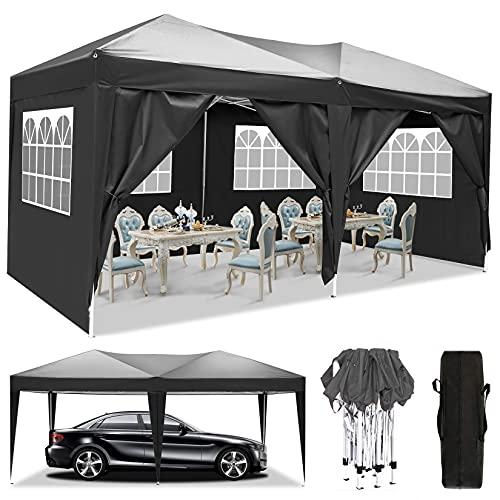 3x3m/3x6m UV Schutz 50+ Faltpavillon, Pavillon, wasserdicht gartenpavillon, festzelt partyzelt hochklappbare Gazebo Festival für Strand / Sofortunterkunft / Flohmarkt / Camping