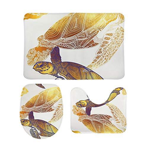 Lafle - Set di tappetini Antiscivolo da Bagno a Forma di Tartaruga Dorata, con copriwater e Tappetino da Bagno, 3 Pezzi