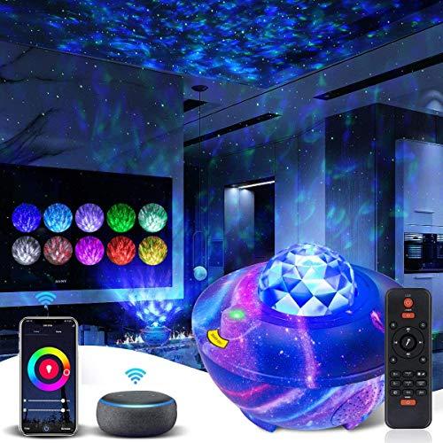 LED Sternenhimmel Projektor, WiFi Sternenlicht Projektor Wasserwellen Projektor mit Fernbedienung und Bluetooth-Lautsprecher Arbeiten Sie mit Alexa Google Assistant, für Kinder/Zimmer/Weihnachten