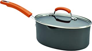 Rachael Ray 87586 Hard-Anodized 3 quart Oval Saucepan with Orange Handles, Charcoal